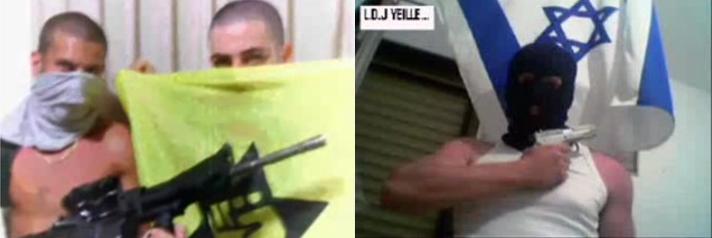 Loin des propos mensongers de Me Forster, des membres de la LDJ exhibent des armes.