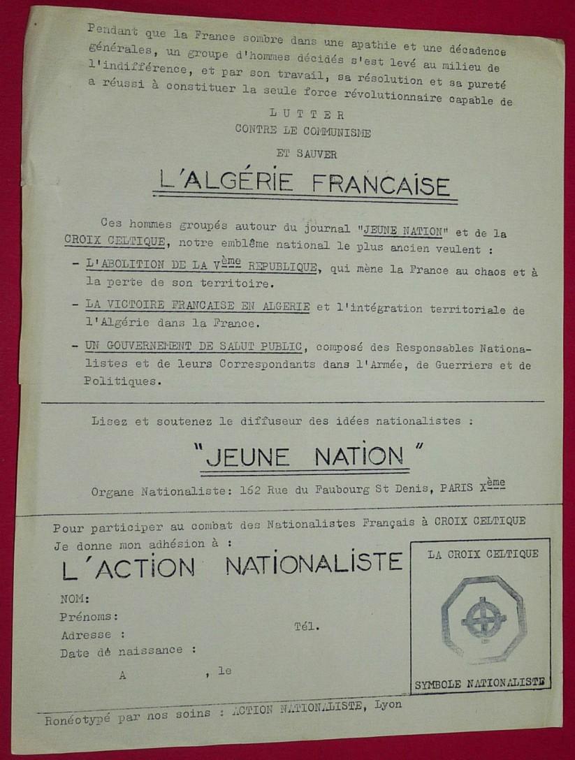 Dans nos archives : un tract de Jeune nation édité par le groupe lyonnais Action nationaliste.