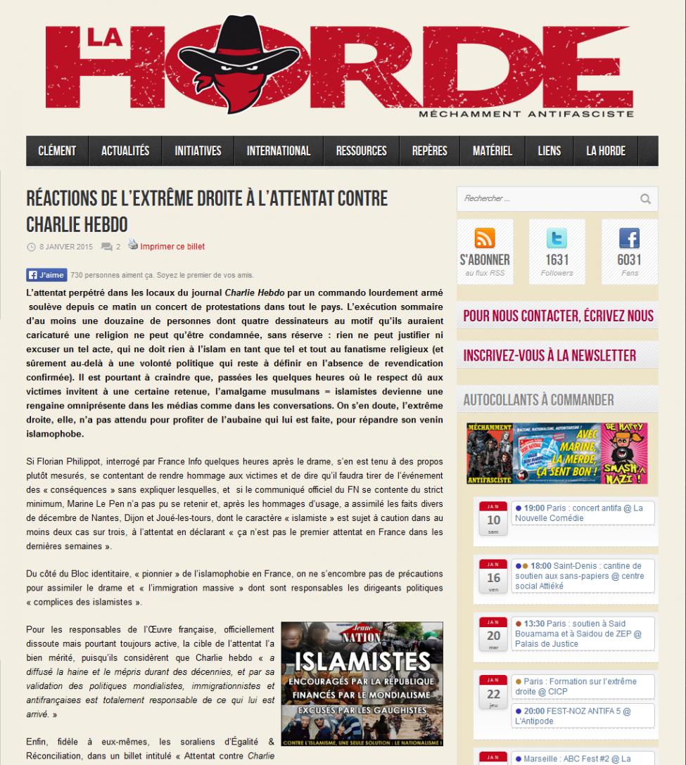 Grâce à l'affaire « Charlie hebdo », Jeune nation cité par le site antifasciste La Horde !