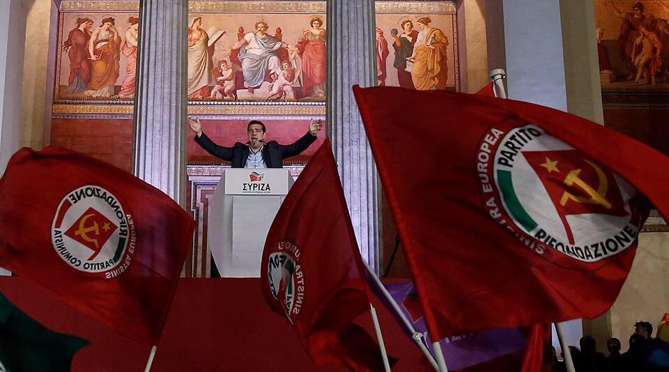 Syriza et ses drapeaux communistes
