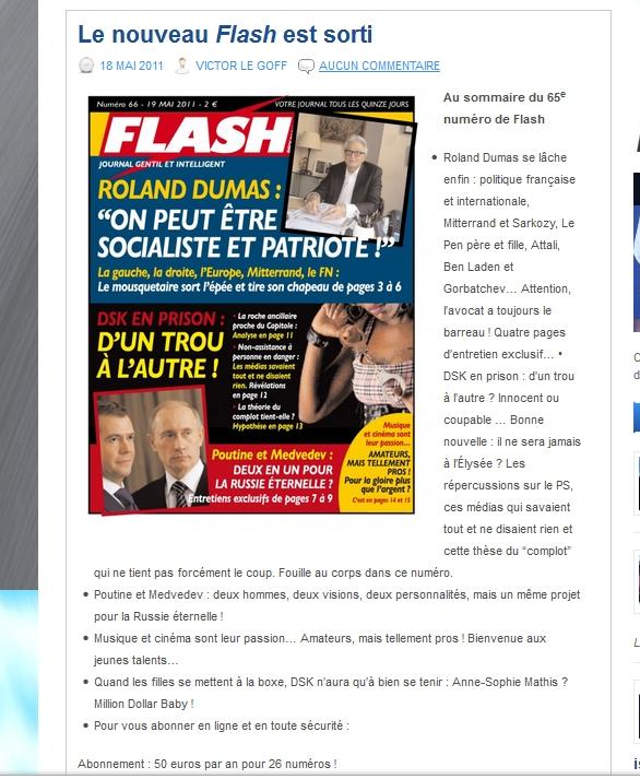 [NPI faisant la promotion de Flash – au comité éditorial très proche – faisant lui-même la promotion de Roland Dumas]