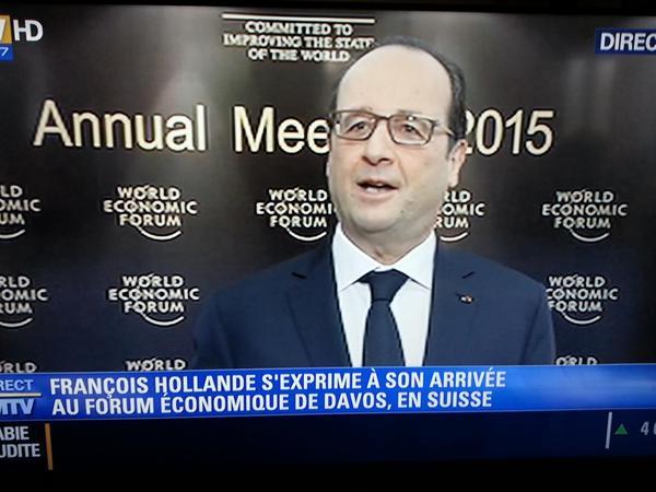 Leur président François 'mon ennemi, c'est la finance' Hollande au forum mondialiste de la finance apatride, à Davos