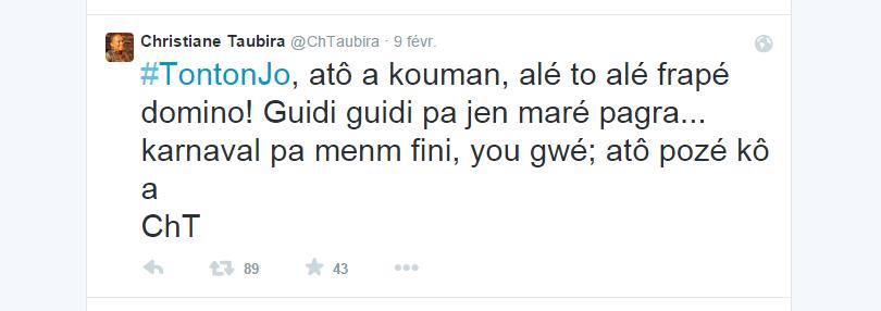 Christiane Taubira parle aux Français