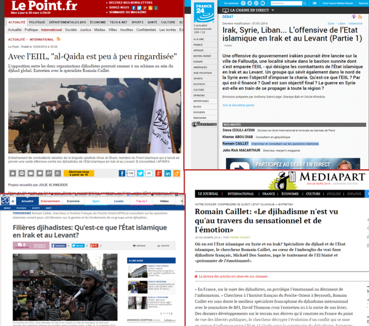 20 minutes, Le Point, France 24, Médiapart, Libération : Romain Caillet est partout.