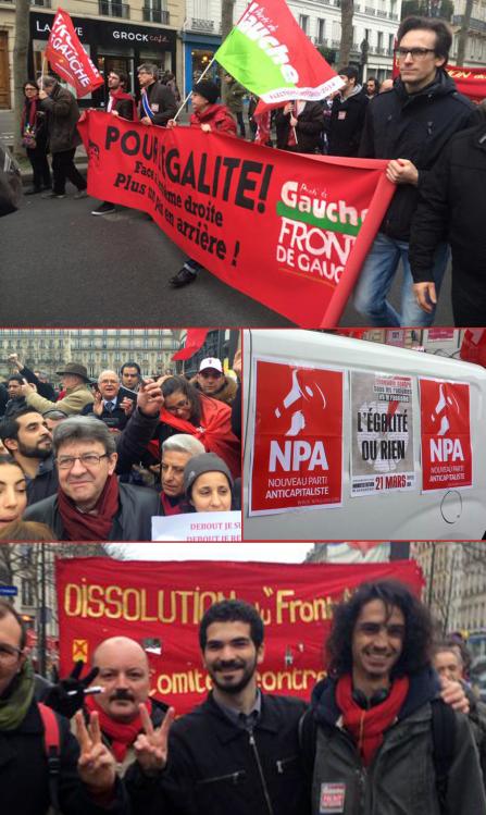 Le NPA, le Front de gauche, le Parti de gauche, engagés dans les élections, n'hésitent pas à déployer leur drapeau, tracter, coller et diffuser des messages politiques malgré les interdictions.