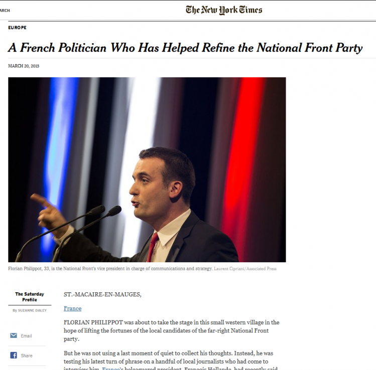 diabolisation-Florian PHilippot New York Times