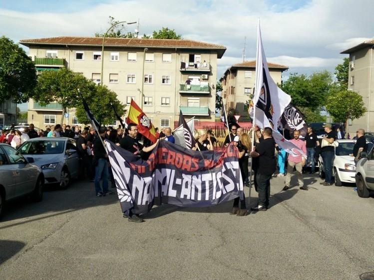 Acto del 1 de Mayo de Acción Nacional Revolucionaria, en el barrio de Canillejas ( Madrid )-