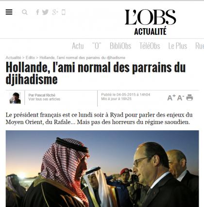 Les intérêts de la France et de l'Occident sacrifiés par Hollande en Arabie