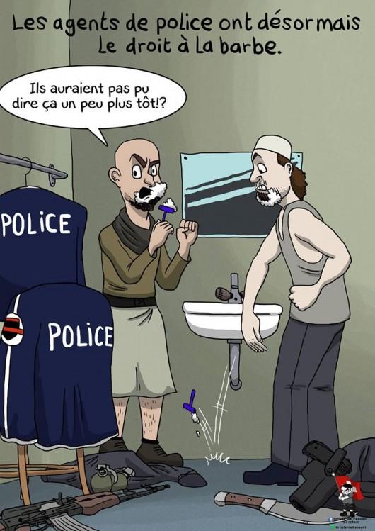 """L'artiste mal pensant - La barbe. La police va désormais autoriser les barbes dans la police, """"à l'exclusion des barbes de légionnaires""""."""