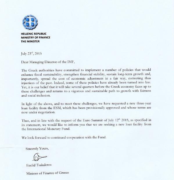 lettre ministre grec demande FMI