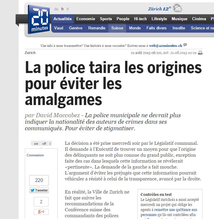 police zurich amalgames