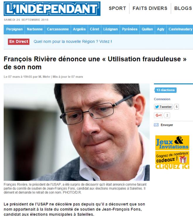 Jean-François FONS fraude françois Rivière UMP FN