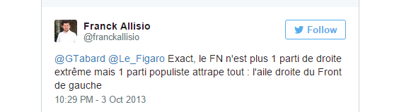 Il y a encore peu, Franck Allisio qualifiait son nouveau parti d'aide droite du Front de gauche (FG)