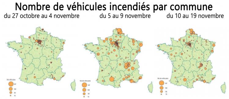 émeutes 2005, nombre de véhicules incendiés par période par ville