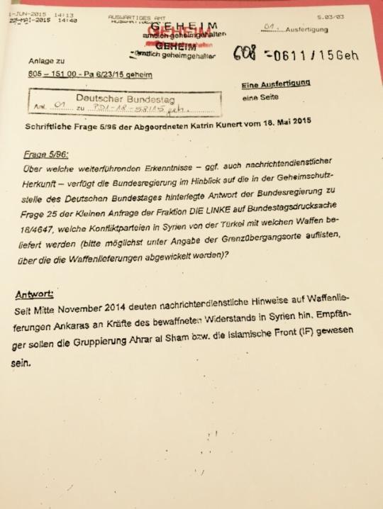 Le document des services de renseignement allemand sur le soutien de la Turquie aux groupes terroristes islamistes