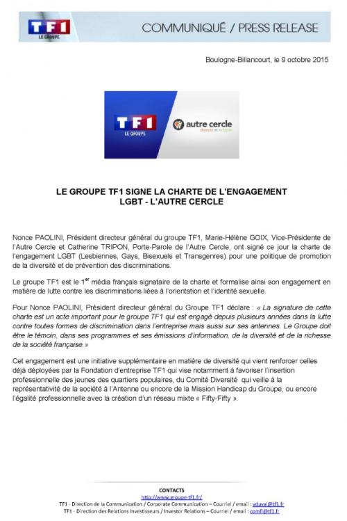 communiqué TF1 LGBT-