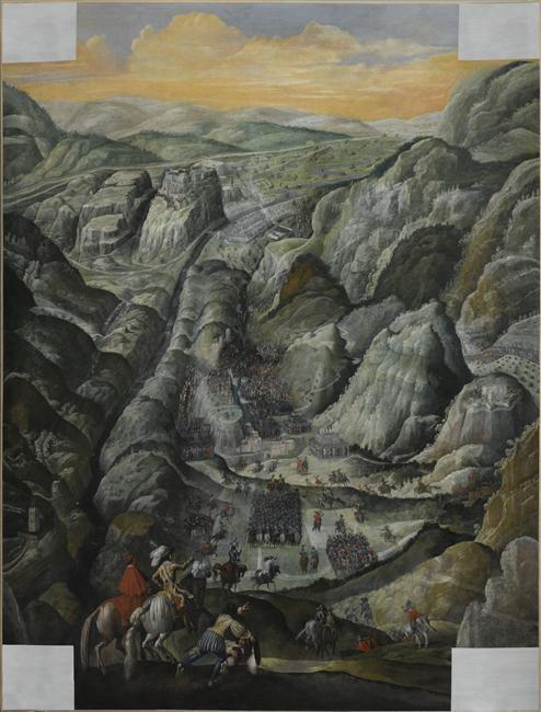 Anonyme, Le combat du défilé du Pas-de-Suze en Piémont, 6 mars 1629