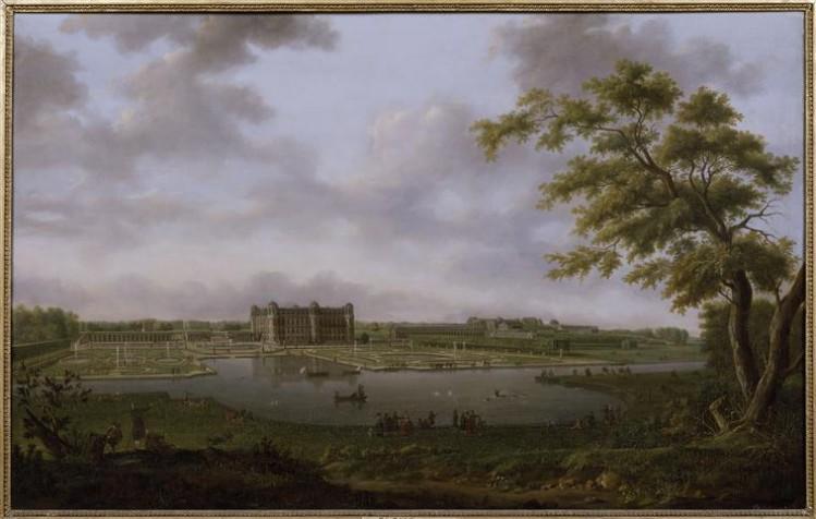 Hendrik Frans de Cort, Le château de Chantilly vu du Vertugadin, (1781)