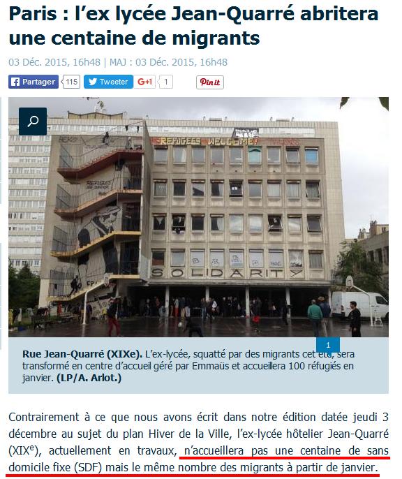 Le Parisien-SDF-clandestins lycée quaré