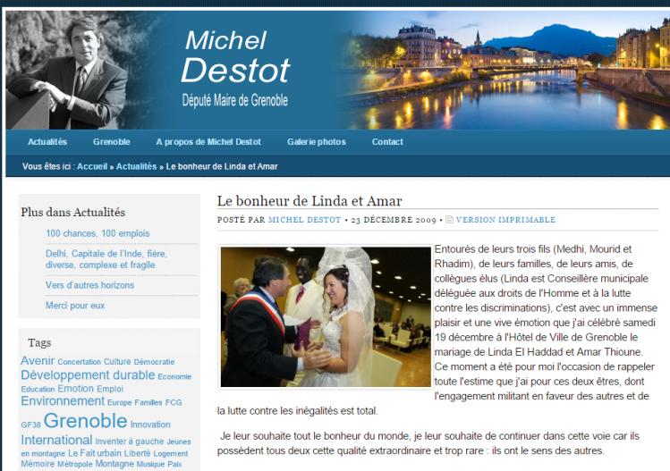 Linda el Haddad et Amar Thioune félicité par Michel Destot qui a depuis supprimé l'article de son site.