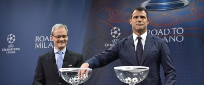 Former Serbian midfielder and 2016 UEFA Champions League final ambassador Dejan Stankovic (R) and UEFA director of competitions Giorgio Marchetti hold the semi-final draw for the UEFA Champions League at the UEFA headquarters in Nyon on April 15, 2016.   AFP PHOTO / FABRICE COFFRINI / AFP PHOTO / FABRICE COFFRINI