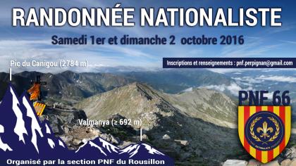 1er et 2 octobre 2016 –  Randonnée nationaliste du PNF Roussillon