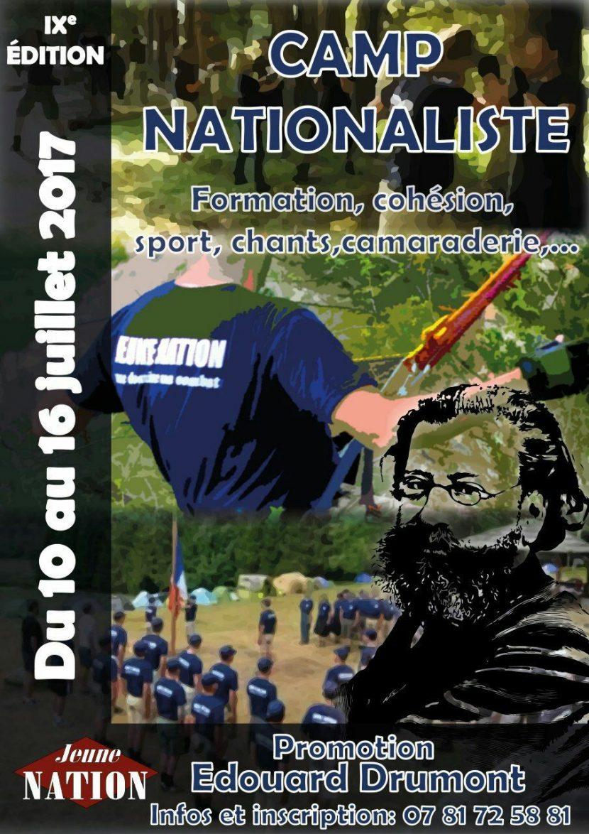 10-16 juillet 2017 – Camp-école de Jeune Nation