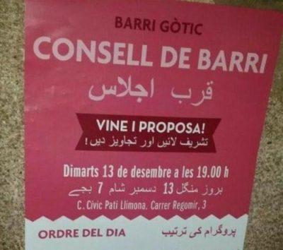 espagne-des-affiches-officielles-en-catalan-et-en-arabe-a-barcelone