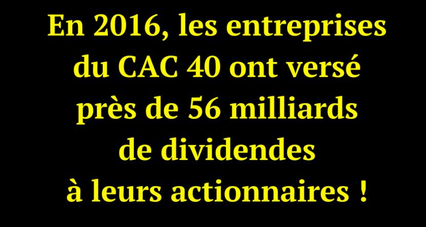 En 2016, les entreprises du CAC 40 ont versé 56 milliards de dividendes à leurs actionnaires