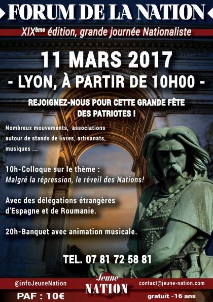 XIXème FORUM DE LA NATION – 11 MARS 2017 – LYON