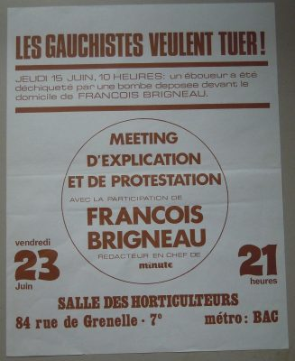15 juin 1972 : tentative d'assassinat contre François Brigneau