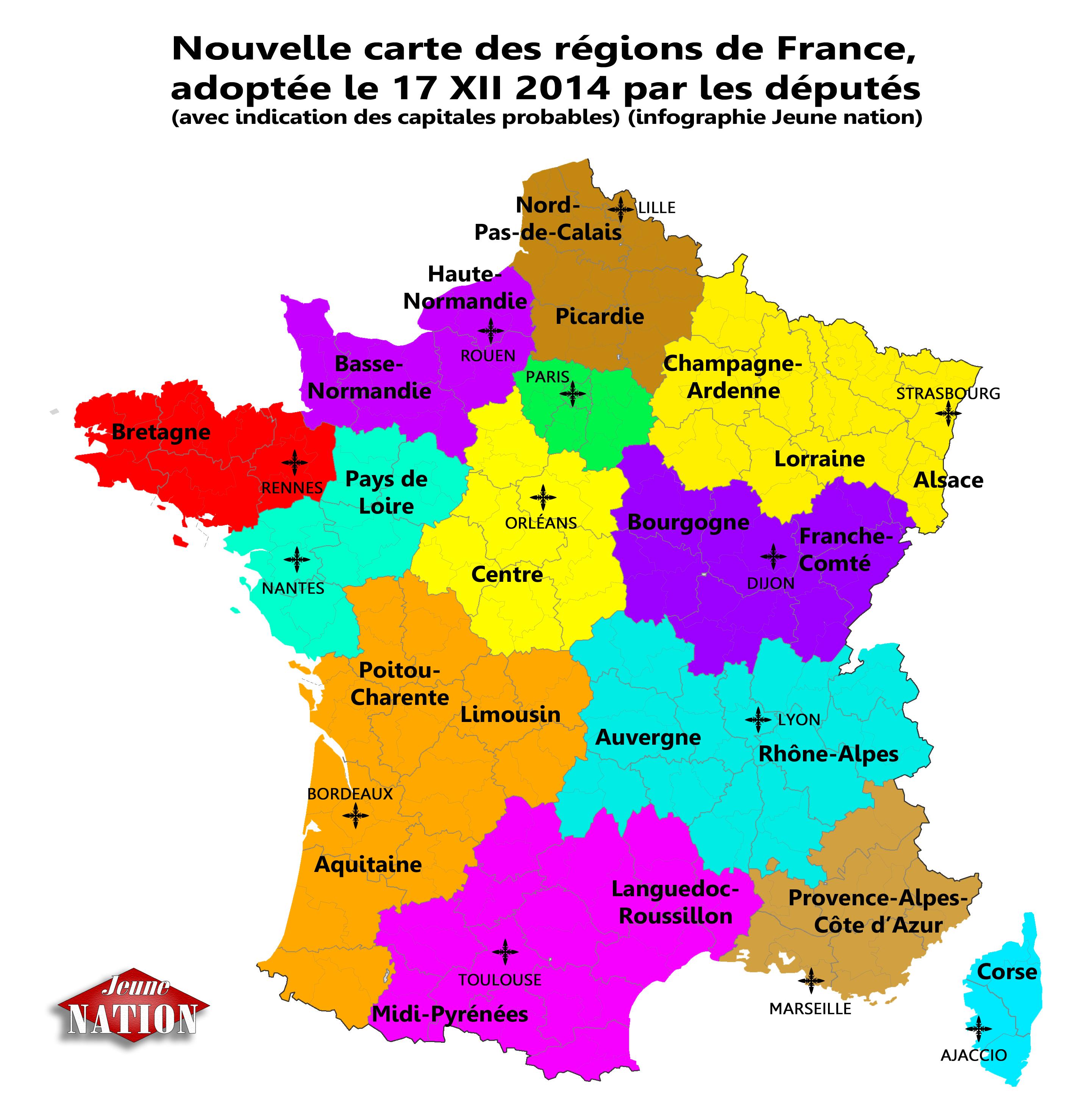 Carte Des R Ef Bf Bdgions Et Des Grandes Villes De France