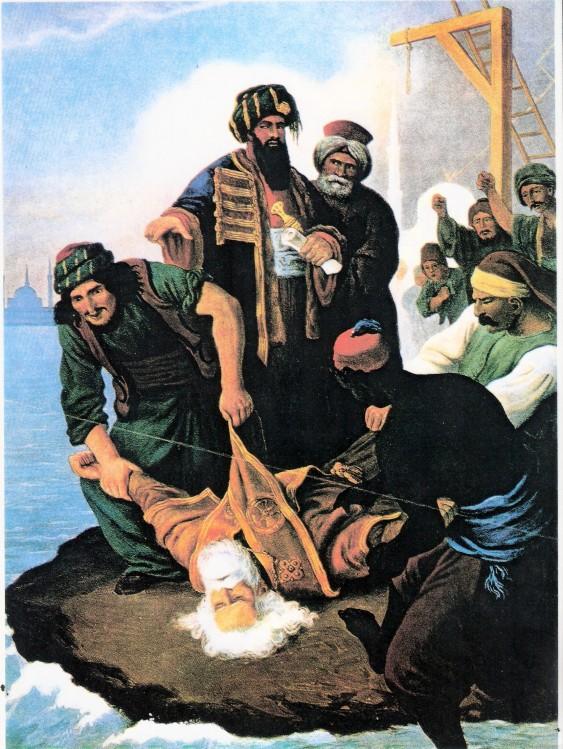 Le corps de Grégoire V jeté dans le Bosphore par les Juifs de Constantinople. Illustration de Peter von Hess
