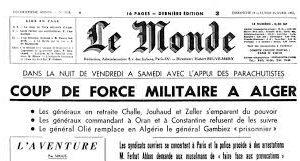 22 avril 1961 : soulèvement de l'armée française en Algérie
