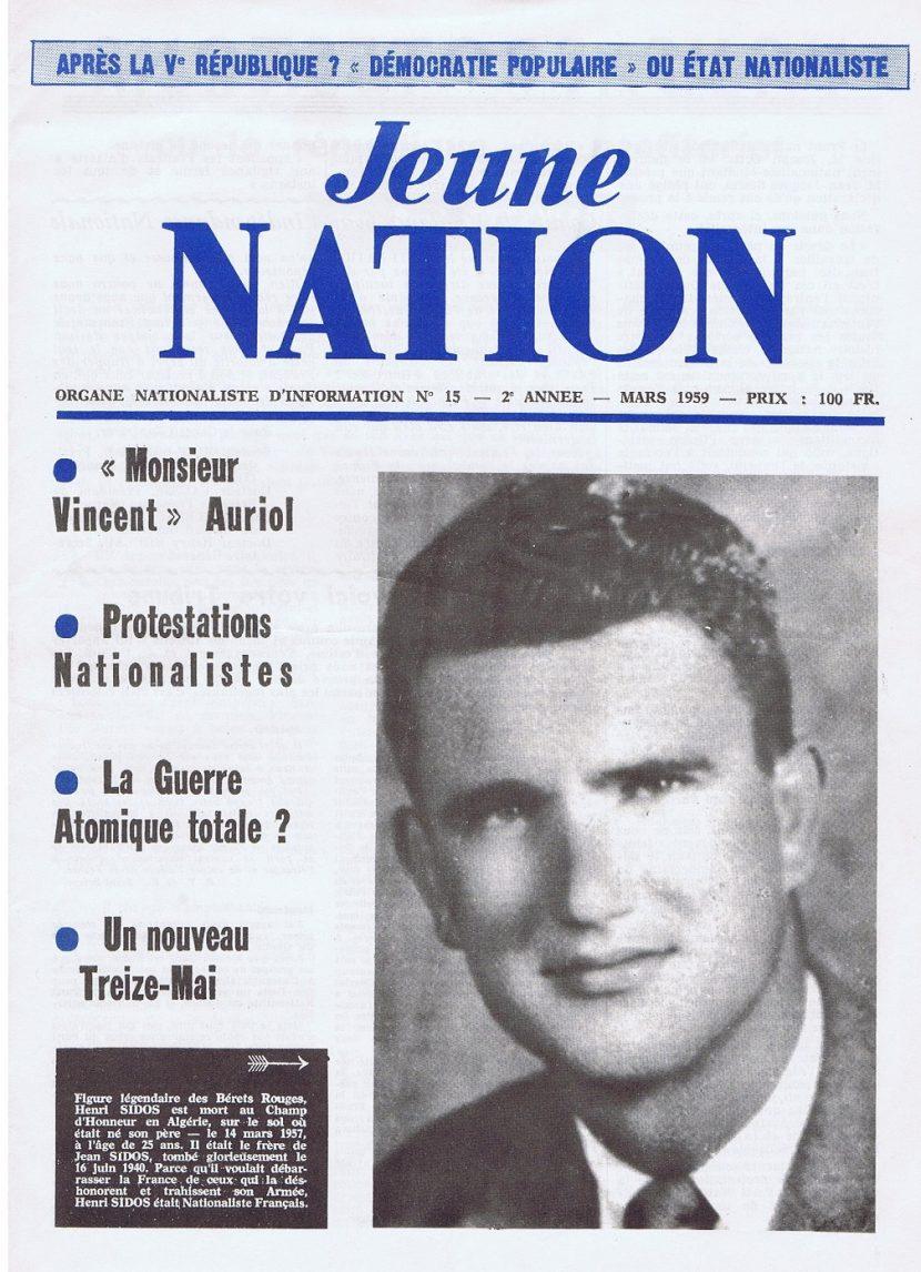5 juillet 1958 : 1er numéro de Jeune Nation