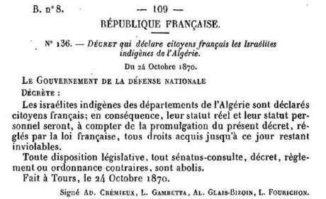 7 octobre 1940 : abrogation du décret Crémieux