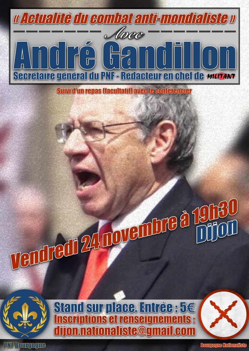 Dijon : Conférence d'André Gandillon sur le combat anti-mondialiste