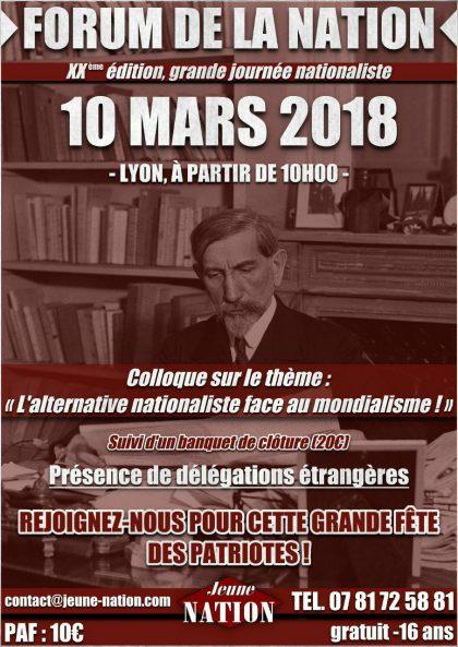L'alternative nationaliste face au mondialisme – Lyon – 10 mars 2018