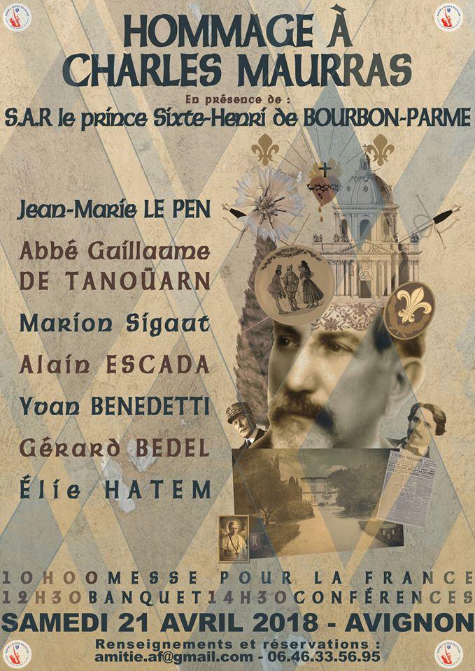 Hommage à Charles Maurras avec Yvan Benedetti – 21 avril – Avignon
