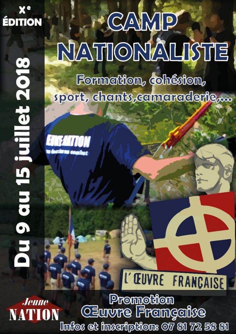 Xe Camp d'été nationaliste – Promotion Œuvre Française – Du 9 au 15 juillet 2018