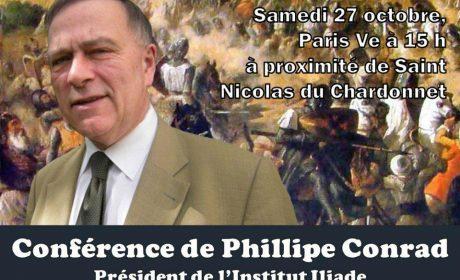 Paris Nationaliste annonce : «La confrontation Europe Islam» par Philippe Conrad le 27 octobre à 15 h