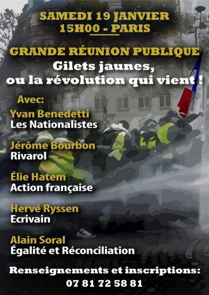 19 janvier 2019 – Grande réunion publique : «Gilets jaunes ou la révolution qui vient»