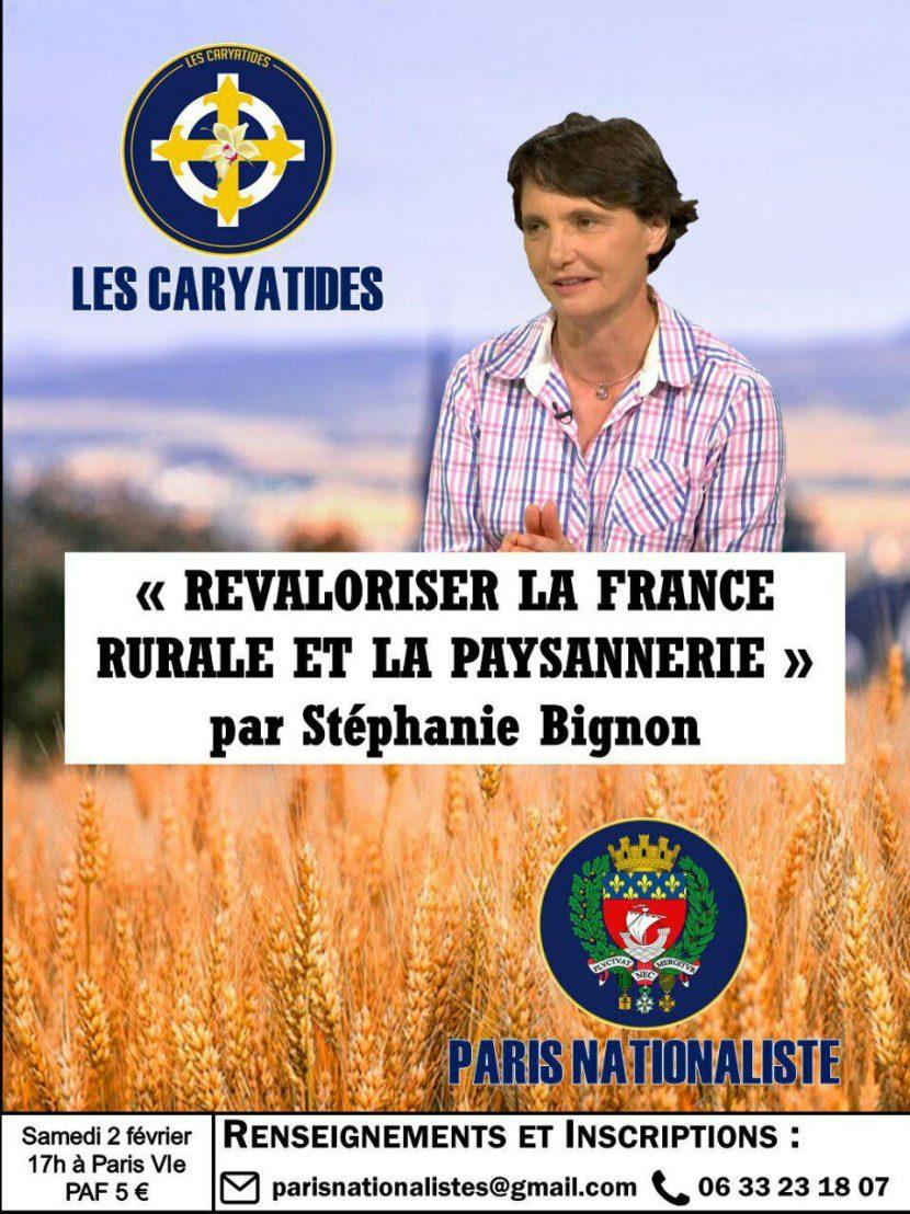 Revaloriser la France rurale et la paysannerie par Stéphanie Bignon – Paris – 2 février 2019