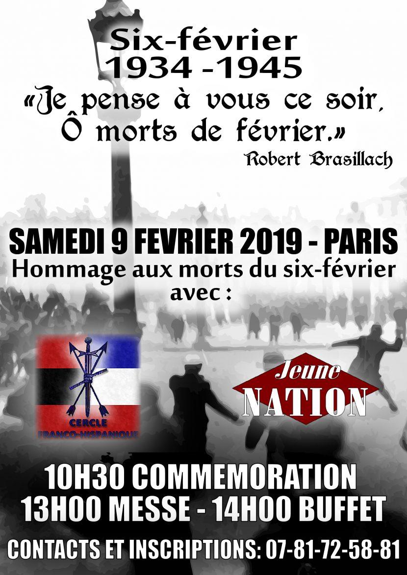 Hommage aux morts du 6 février : Paris le samedi 9 février 2019